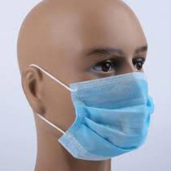Masque chirurgical 3 plis de couleur bleue (la boite de 50)